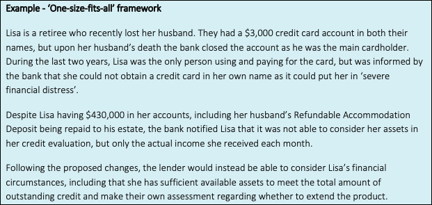 Example of credit act reform